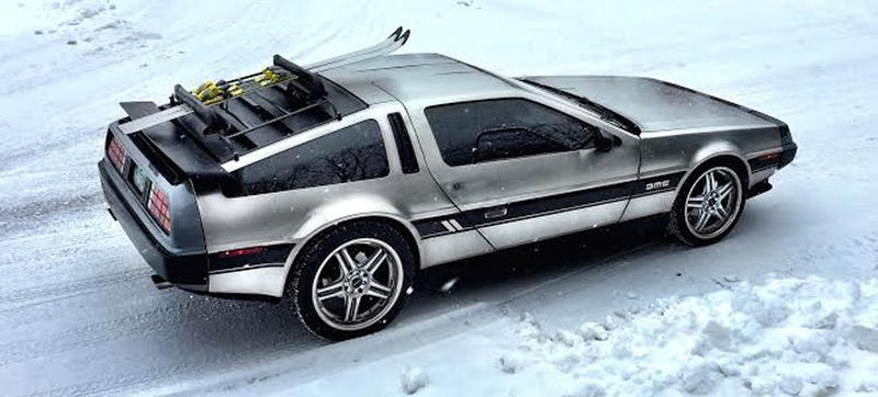 proof a delorean dmc 12 is a great car to drive on a ski trip. Black Bedroom Furniture Sets. Home Design Ideas
