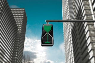 Illustration for article titled Concept Traffic Light Shows How Much Time Is Left Through A Sand Glass
