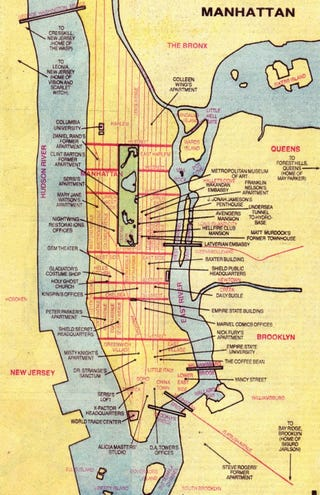 Illustration for article titled Old Marvel Comics NYC map teaches us that the Scarlet Witch lives in New Jersey