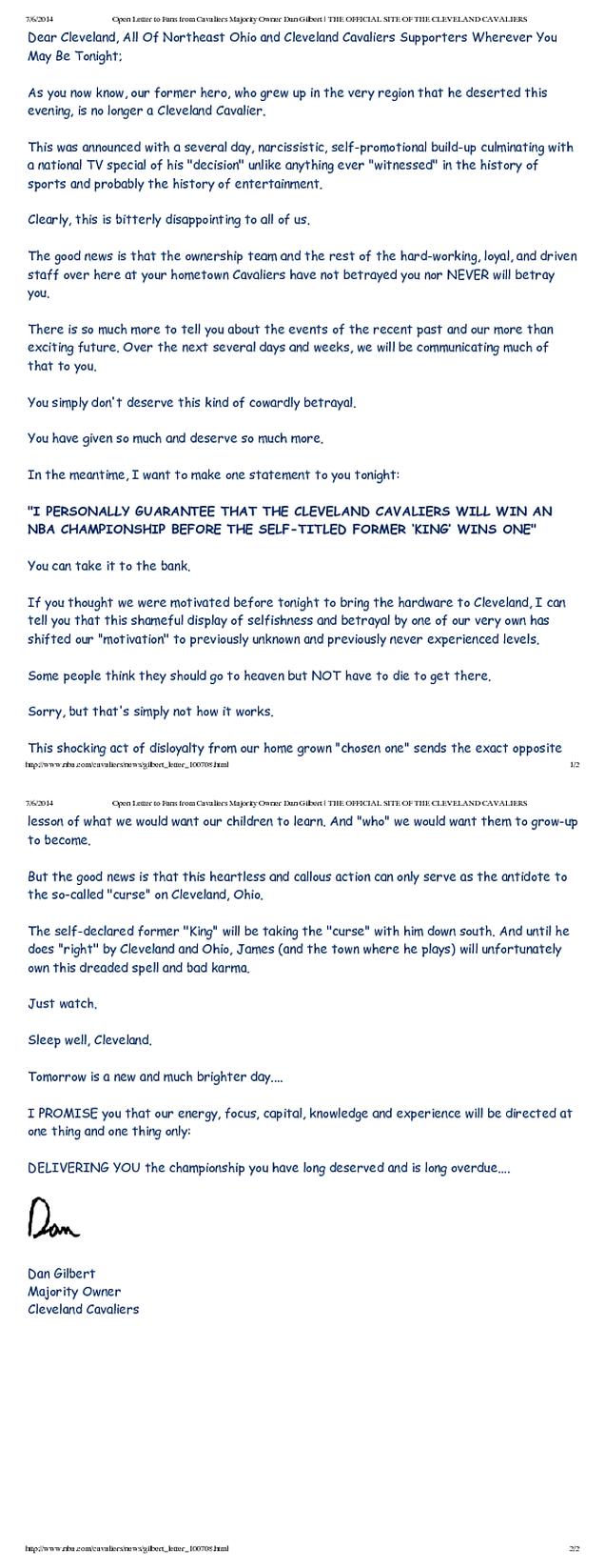 The Cavaliers Finally Took Down Dan Gilbert's Insane Comic Sans Letter