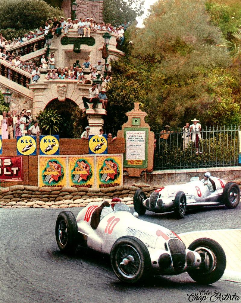 Illustration for article titled 1937 Monaco Grand Prix - Colorized