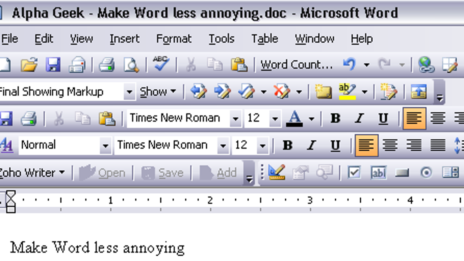 Alpha Geek Make Microsoft Word Less Annoying