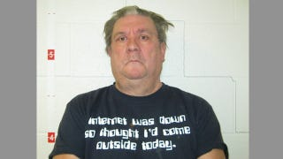 Illustration for article titled When Awkward T-Shirt Selection Makes A Child-Porn Mugshot Even Creepier