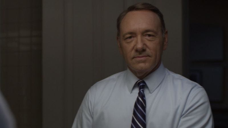 Illustration for article titled Shatter the fourth wall with a supercut of Frank Underwood's sinister asides