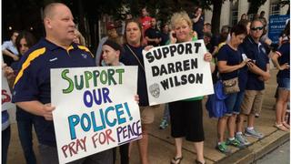 Supporters of Darren Wilson protest on his behalf.Jon Swaine/Twitter