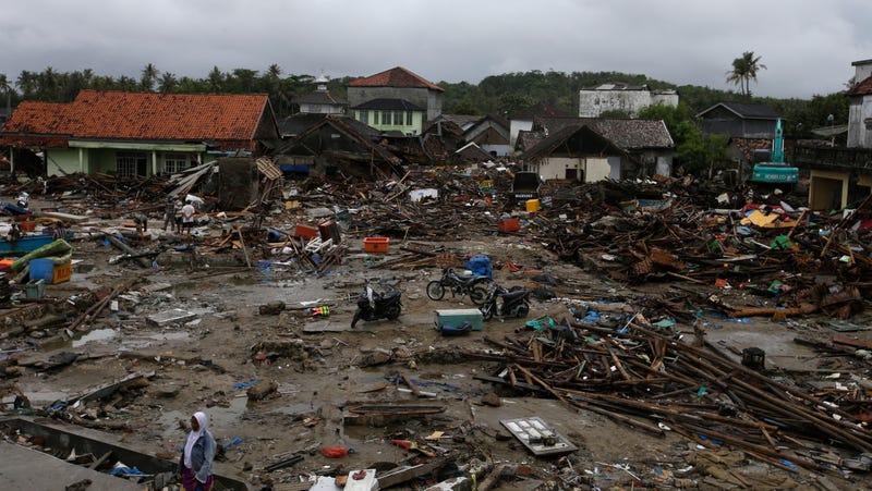 Tsunami damage in Sumur, Indonesia.