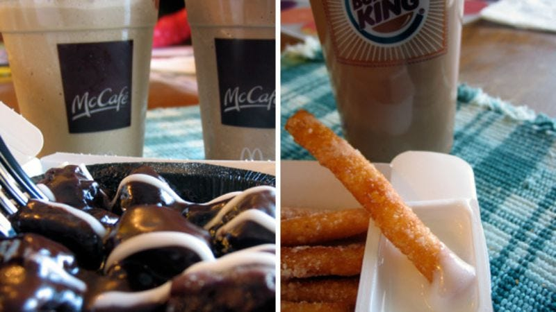 Illustration for article titled Fast-Food Iced Coffees, McDonald's Brownie Melt, Burger King's Funnel-Cake Sticks