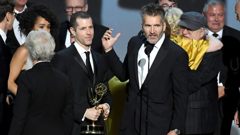 D.B. Weiss and David Benioff, here accepting an Emmy for Game of Thrones, just signed a deal with Netflix.