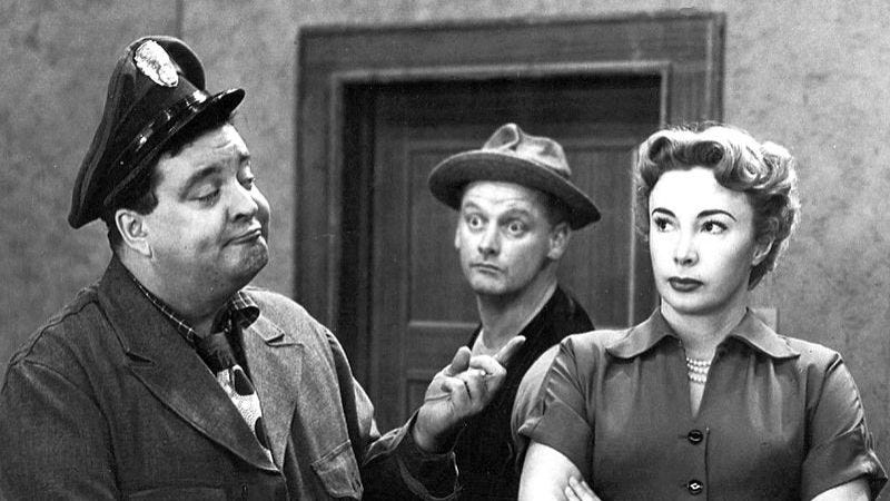 The landmark series aired on CBS, but it started as a sketch on DuMont's Cavalcade Of Stars. (Screenshot: The Honeymooners)