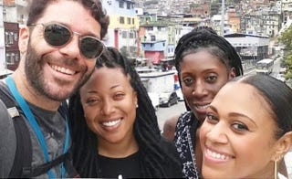 The writer, Demetria Lucas D'Oyley (second from left), with a tour guide and her friendsDemetria Lucas D'oyley
