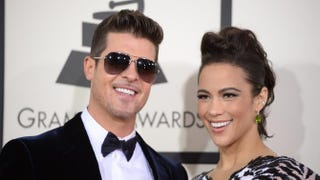 Robin Thicke and Paula Patton on the red carpet for the 56th Grammy Awards at the Staples Center in Los Angeles, Jan. 26, 2014.ROBYN BECK/AFP/Getty Images