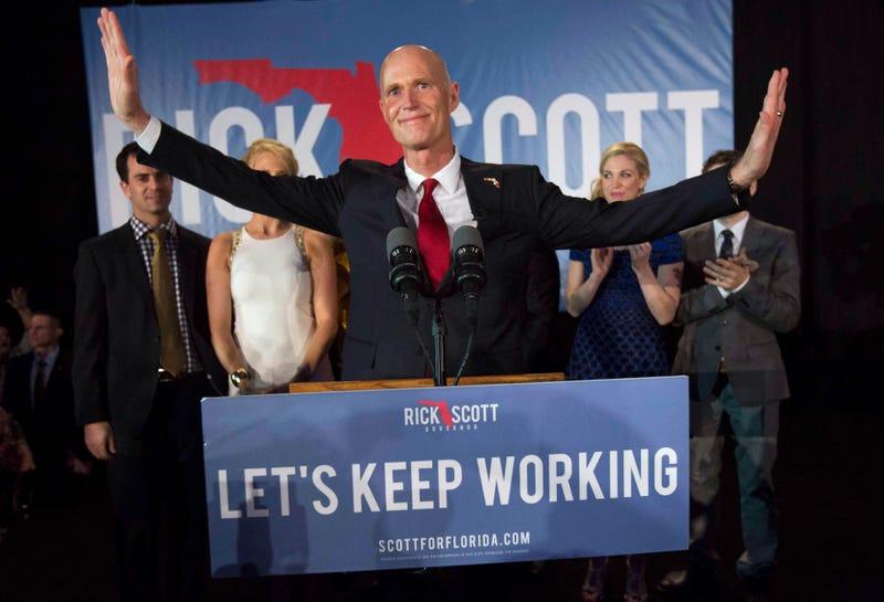 Florida Gov. Rick Scott gives his victory speech Nov. 4, 2014, in Bonita Springs, Fla.