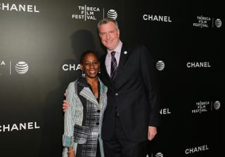 New York City Mayor Bill de Blasio and his wife, Chirlane McCray, attend the 2014 Tribeca Film Festival's closing night film Begin Again on April 26, 2014, in New York City. Neilson Barnard/Getty Images for the 2014 Tribeca Film Festival