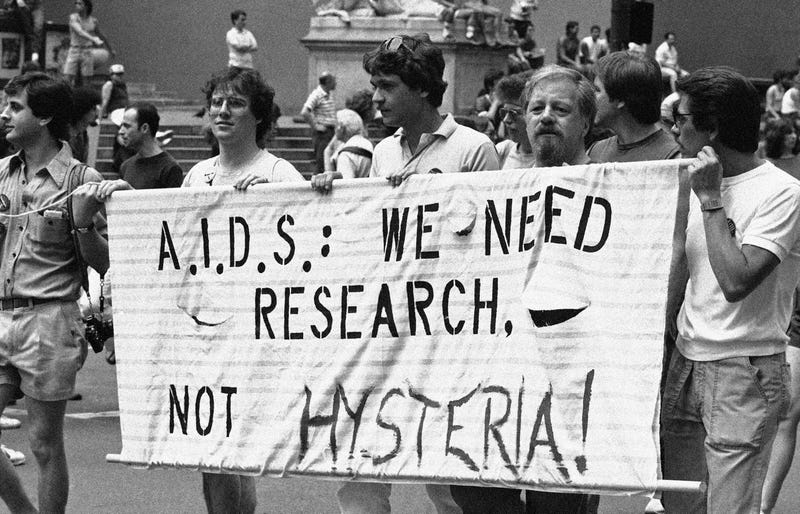 A group advocating AIDS research marches down Fifth Avenue during the 14th annual Lesbian and Gay Pride parade in New York, June 27, 1983.(Image: AP/Mario Suriani)