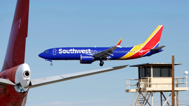 A Southwest Airlines Boeing 737 Max aircraft landing at the Southern California Logistics Airport in Victorville, California, where the airline is storing its 737 Max jets until they are again cleared to fly passengers, on March 23, 2019.
