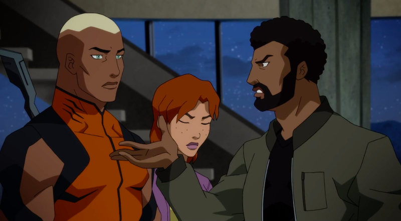 Black Lightning confronting Aquaman about what he's discovered.