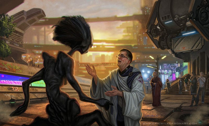 Illustration for article titled Concept Art Writing Prompt: The Missionary Seeks an Alien Convert