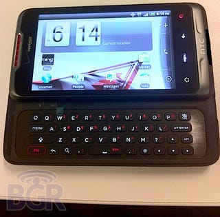 Illustration for article titled Suave Black QWERTY Android From HTC Leaks Out Bearing Verizon Logo