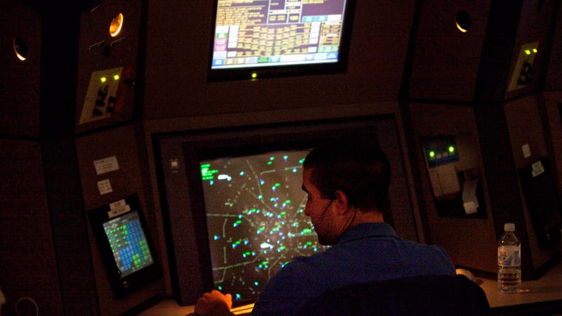 An air traffic controller working at Atlanta TRACON in Peachtree City, Georgia, in 2011.