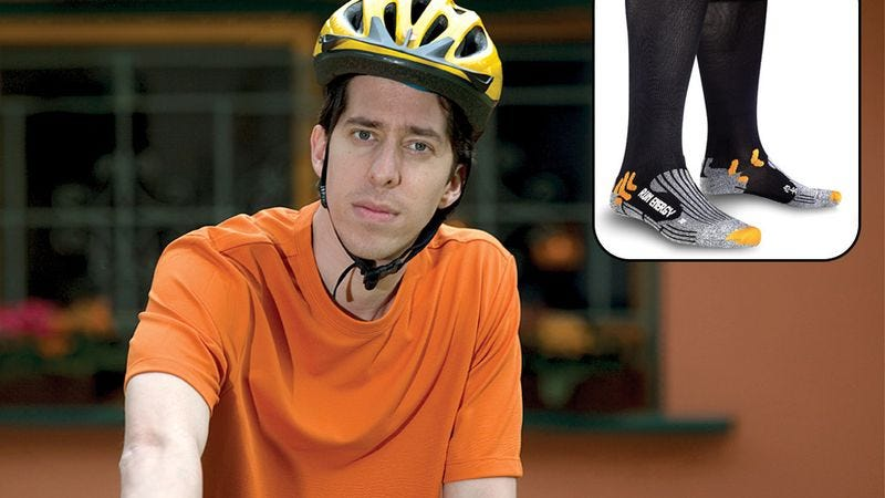 Coseglia, above, said the nearly $40 socks are one of the best bike-related purchases he has made yet.