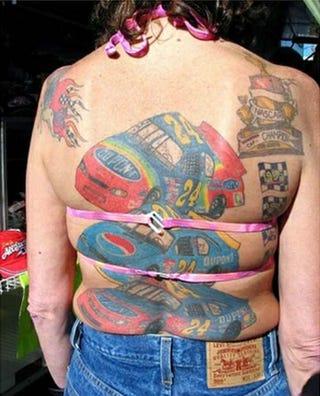 Illustration for article titled Tattooed NASCAR Lady Reinforces Sad Stereotypes