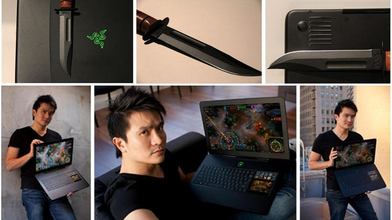 Illustration for article titled Razer's Combat Knife-Inspired Blade Gaming Laptop Will Be Home For Christmas