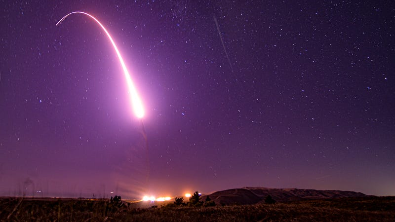 An unarmed Minuteman III missile launches at 1:13 am PT on Wednesday at Vandenberg Air Force Base