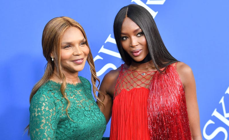 Naomi Campbell (R) and her mother Valerie Morris-Campbell arrive at the 2018 CFDA Fashion awards June 4, 2018 at The Brooklyn Museum in New York.