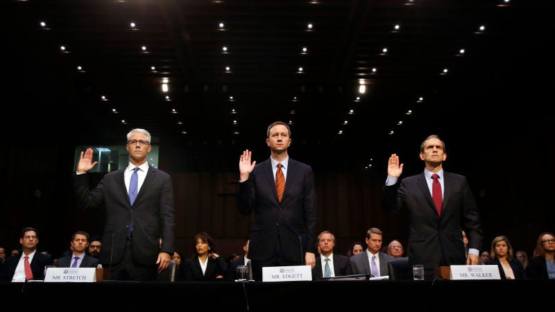 Facbook's General Counsel Colin Stretch, Twitter's Acting General Counsel Sean Edgett, and Google's Senior Vice President and General Counsel Kent Walker, are sworn in for a Senate Intelligence Committee hearing on Russian election activity. (Photo: AP)