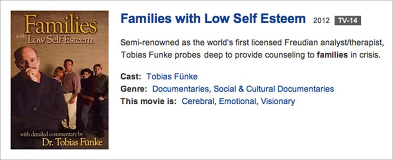 "Illustration for article titled Netflix Presents Tobias Funke's ""Families With Low Self Esteem"""