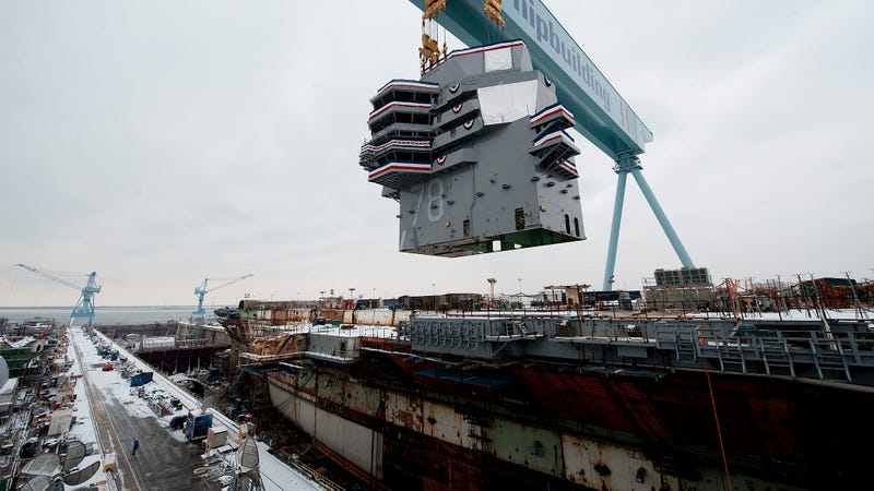 The USS Gerald Ford gets its innovative island put in back in 2013. Photo Credit: The United States Navy