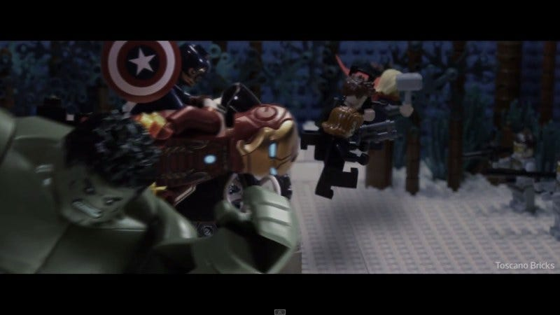 Illustration for article titled Here's an impressive Lego recreation of the Avengers: Age Of Ultron trailer