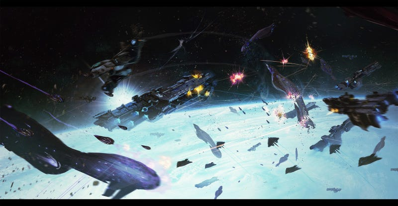 Images from the proposed Halo Wars 3, showing massive space battles.