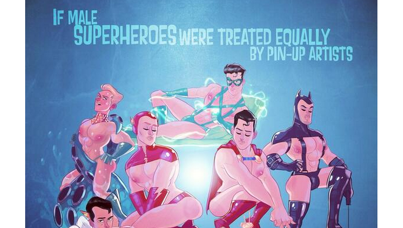 Illustration for article titled Artist Imagines World Where Male Superheroes Get Pin-up Treatment
