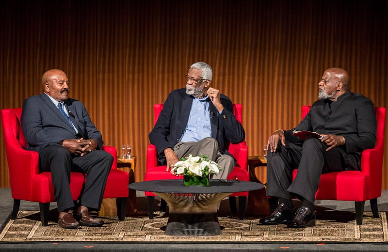 Jim Brown and Bill Russell take questions from Dr. Harry Edwards on the second day of the Civil Rights Summit at the LBJ Presidential Library on April 9, 2014, in Austin, Texas. Ricardo B. Brazziell-Pool/Getty Images