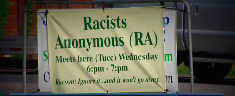 Sign in front of Trinity United Church of Christ in Concord, N.C., publicizing its Racists Anonymous meetings, which the church says are meant to  bring about honest discussion and change.WCNC screenshot