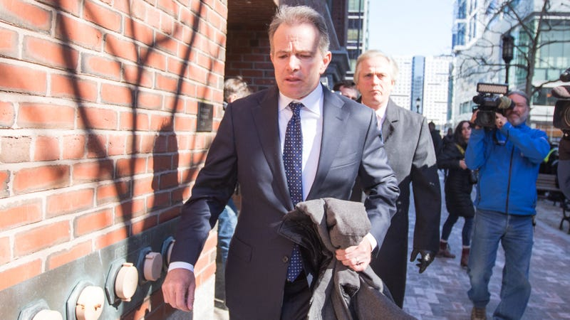 Gordon Ernst, former head coach of the men's and women's tennis teams at Georgetown University leaves following his arraignment at Boston Federal Court on March 25, 2019 in Boston, Massachusetts.