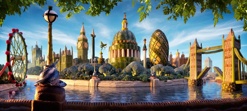 Illustration for article titled Incredibly enough, this London skyline made of food is not a 3D image