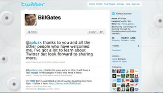 Illustration for article titled Bill Gates Is Now On Twitter, Follow Him To See His 'Sleb Hobnobbing