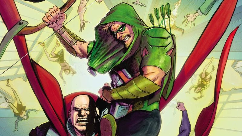 Illustration for article titled The hard-traveling hero hits Metropolis in this Green Arrow #28 exclusive