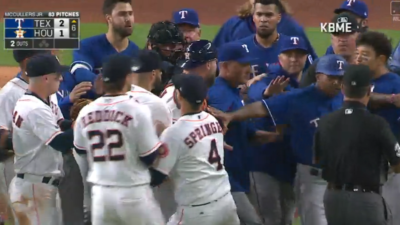 Illustration for article titled The Rangers And Astros Had A Little Beef And A Little Brawl