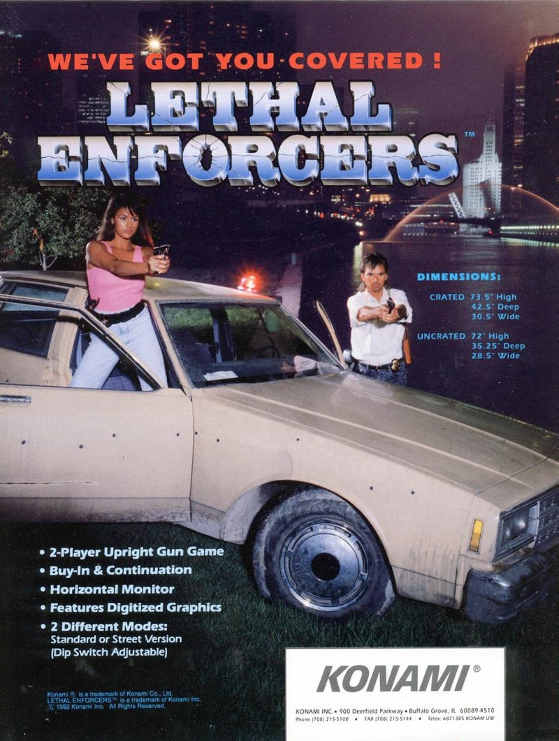 Illustration for article titled Lethal Enforcers Arcade Flyer