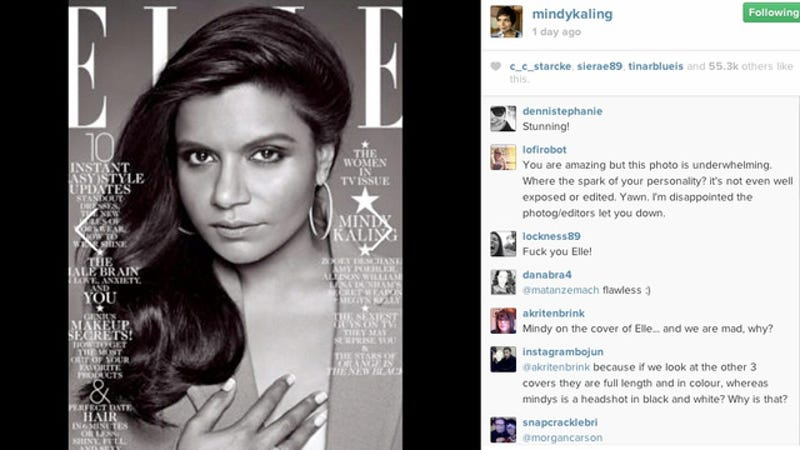 Illustration for article titled Mindy Kaling's Elle Cover Made Her Feel 'Glamorous & Cool'