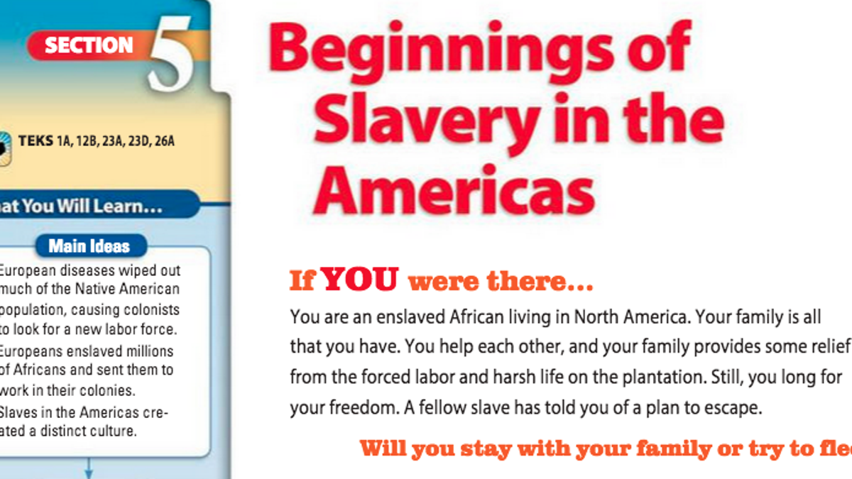 Here's How New Texas Public School Textbooks Write About Slavery