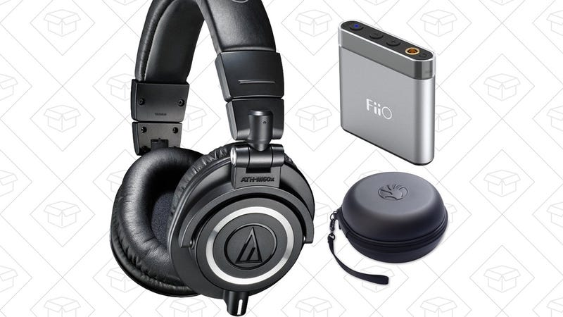 Audio-Technica ATH-M50x + Slappa Case + Fiio Portable Amp, $129