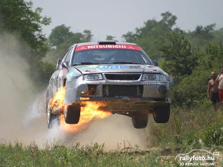 Illustration for article titled Oppo needs more flaming rally cars.