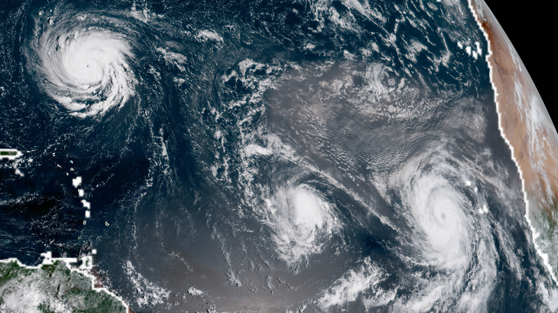 That's a lot of hurricanes. From left to right, Florence, Isaac and Helene.