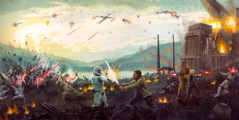 Illustration for article titled Finn Takes on TR-8R in This Insane Force Awakens Art, Part of a Batch of NewStar Wars Pieces