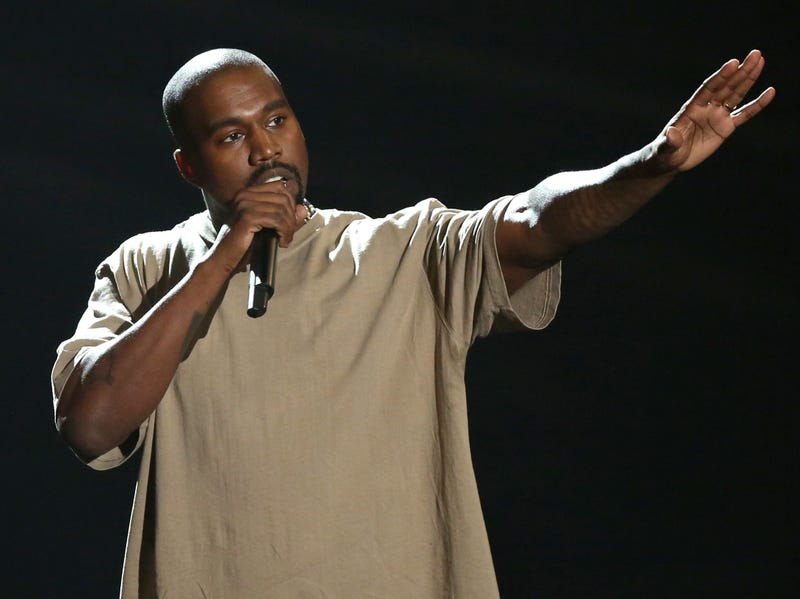 "In this Sunday, Aug. 30, 2015, file photo, Kanye West accepts the video vanguard award at the MTV Video Music Awards at the Microsoft Theater in Los Angeles. West's ""Famous,"" Beyonce's ""Formation"" and Adele's ""Hello"" will battle Justin Bieber's ""Sorry"" and Drake's ""Hotline Bling"" for the top prize at the MTV Video Music Awards, Aug. 28, 2016, from New York's Madison Square Garden."