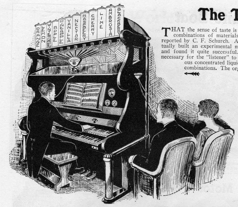 Illustration for article titled This 1920s 'Taste Organ' Was Like a Symphony For Your Mouth